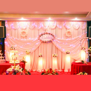10ft*20ft white ice silk Wedding backdrop with swags Wedding curtain decoration Backdrop for Wedding stage backcloth with swags