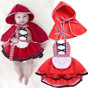 Bébés filles 2pcs Cape Ensemble robe chaperon Costume de Noël Halloween Nouveau-né Plaid Halter robe Pucelle Fancy cosplay Tenues M618