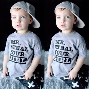 Kleinkinder Kinder Baby Jungen Sommer Grau Kurzarm Tops T Shirt Kleidung Größe 1-6Y