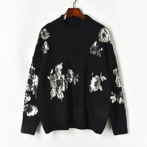 N14 2019 Осень Черных цветочных Вязаных Блестки пуловеры свитер с длинным рукавом Экипаж шеи Мода Свитер X1910PUG91043
