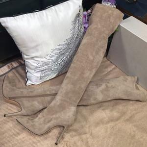 Женщины из натуральной кожи Обувь Хайленд Колено сапоги Тонкие ноги Stretch Высокие остроконечные Toe на высоких каблуках Zipper Boots моды