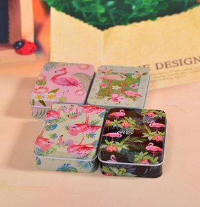 DHL Collectables Tin Boxes container Small Mini Tin Box Organizer Metal Storage tins Candy Box Flamingos Pattern boxes NN