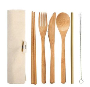 бамбуковая столовые приборы путешествия столовых приборы набора ложка нож вилка многоразовый здоровое путешествие одноразовый экологически чистая биоразлагаемая посуда ужин