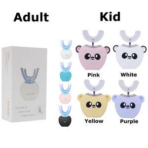 Brosse à dents électrique automatique à 360 degrés Rechargeable Sonic Sonic Dental Brosse à dents USB Silicone Brosse Têtes Dents Soins Smart U Type 0610116