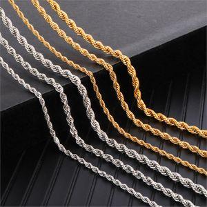 3 мм 4 мм 5 мм 6 мм Ширина каната цепи ожерелье Twisted золота нержавеющей стали 316L ожерелья Rope цепи для женщин Мужчины ювелирные изделия Dropshipping