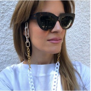 Eyeglasses chain white acrylic chain wiith gold color plated metal chunky chain silicone loops sunglass accessory women gift