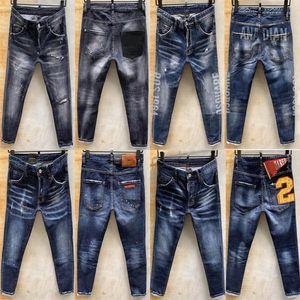 Jeansdsq2 Fermuar Erkekler pantolon pantolon sıska jeansdsquared2 erkekler kot 021d1 d2 2020 het D2 Erkek Denim Jean Nakış Pantolon Delikler