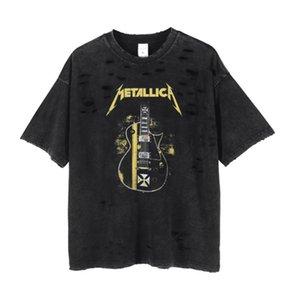Été Hommes Designer T-shirts Cut Guitar Band Trou Imprimer col rond Washed Rap Fashion High Street manches courtes Casual
