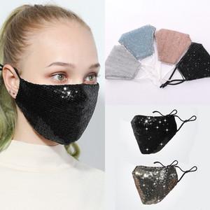 Máscaras dos EU Stock Bling lantejoulas Ice Seda Anti-poeira Máscara Facial PM2.5 exterior Boca Máscara Máscara lavável Reutilização face FY9048