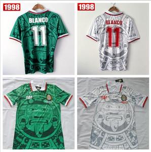 Mejor calidad de Tailandia versión retro de la Copa Mundial de México 1998 México clásico de la vendimia retro camisetas de Inicio verde HERNANDEZ BLANCO 11 # camisa