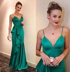 Real Image Prom Evening Dresses spaghetti robe de soiree Long Elastic Satin Beads Formal Gowns Cheap Rachel Allan custom made sweep train