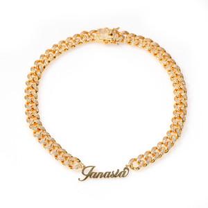 Collar de arte Nombre de la fuente Miami Cuban Link de plata plateado oro de lujo Micro CZ pavimentado cubana unirse a la cadena