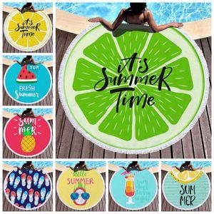 Круглый пляжное полотенце Свежее лето Полотенца из микрофибры Пляж Одеяла кисточкой бассейн Полотенце Unisex шаль Yoga Mat 150см 16 Designs CA11799-1 6шт