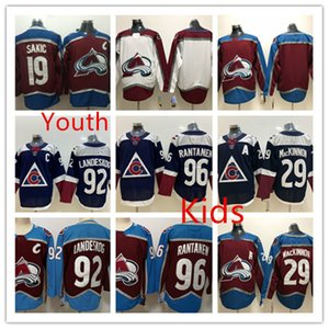 Gençlik Colorado Avalanche Nathan MacKinnon Jersey Çocuklar 92 Gabriel Landeskog 96 Mikko Rantanen Colorado Avalanche Jersey