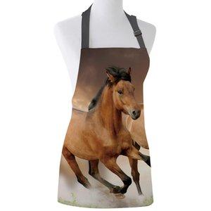 Küchen-Schürze Brown Running Horse Tier Adjustable Lätzchen Leinwand Schürzen für Frauen Kochen Backen Restaurant Kinderschürze Pinafore