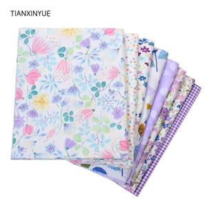 tela de sarga de algodón yardas TIANXINYUE remiendo de la tela de tejido floral púrpura hojas de tela que acolcha de costura Material del vestido