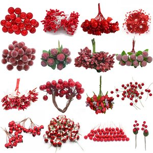heap Artificial & Dried Flowers Cheap Red Gold Mixed Hybrid Flower Cherry Stamens Berries Bundle DIY Cake Christmas Wedding Gift Box Wrea...