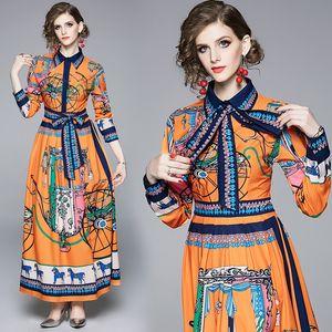 2019 Primavera Verano Otoño Runway Vintage Imprimir cuello Bufanda Fajas de manga larga Imperio Cintura Mujeres Ladies Party Casual Maxi vestido de playa