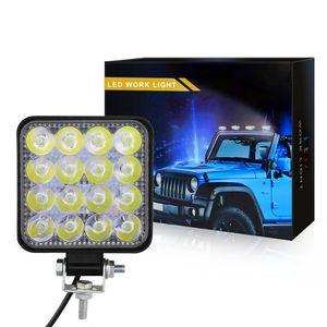 42 W 48 W çalışma ışığı araba 9-30 V LED spot iş lambası şeridi 6000 k su geçirmez darbeye dayanıklı Kare Oto kamyon Mini Spot Sis lambası