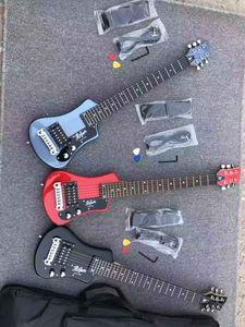 Förderung Schwarz / Rot / Metallic Blau Hofner Shorty Reise Gitarre Protable Mini E Gitarre Mit Baumwolle Gig Bag, Wrap Arround Saitenhalter