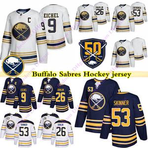 jerseys 50º aniversário Buffalo Sabres 9 Jack Eichel 26 Rasmus Dahlin 53 Jeff Skinner hockey jersey