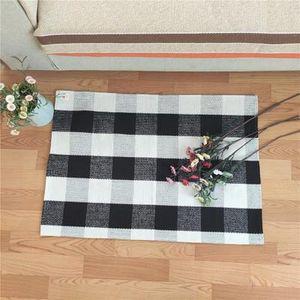 60*90cm Plaid Cotton Rugs Tartan Buffalo Checkered Layered Door Mats Outdoor Throw Rugs Kitchen Bathroom Carpets Outdoor Gadgets K836