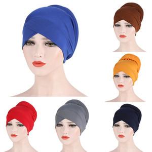Muslim Women Silky Cross Cotton Silky Sponge Turban Hat Cancer Chemo Beanies Cap Headwear Wrap Plated Hair Accessories