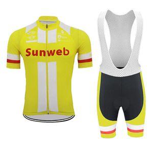 الدراجات جيرسي 2019 الرجال sunweb جديد الصيف فريق الدراجة قصيرة الأكمام قمم مريلة السراويل مجموعة سريعة الجافة تنفس سباق الرياضة ارتداء Y011706