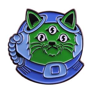Espacio gato broche lindo astronauta pin azul casco universo insignia astronomía joyería ciencia empollón regalo creativo mochila deco
