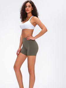 LU-61 женщины йога поезд раз короткая задняя талия оголовье карман высокая талия шорты для бега спорт тренажерный зал эластичные шорты
