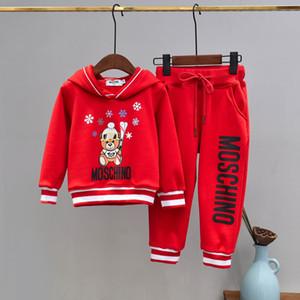 Marca del bambino dei capretti che coprono l'insieme manica lunga flanella Tute velluto con cappuccio cappotto giacca e pantaloni in due pezzi Outfits Panno 121112
