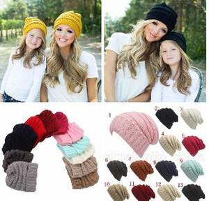 Родители дети шапочки детские мамы 13 цветов зимние вязаные шапки теплые капюшоны крючком черепа шапки открытый шляпы OOA5942-4