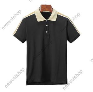 2020 nueva ropa de lujo del verano del diseñador para hombre del polo bordado clásico a rayas carta de la manga de la camiseta ocasional da vuelta-abajo a la camiseta