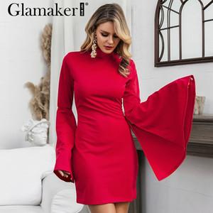 Großhandels-Glamaker Lange flare Hülse rot Herbst Kleid Frauen eleganter weiblicher mini kurzes Kleid Partei Nachtclub sexy bodycon Winter