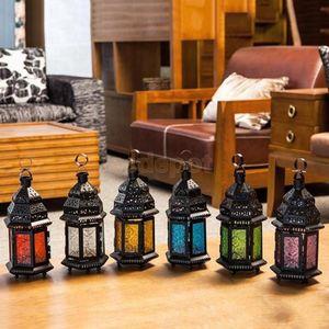 Antiga colorida Marrocos mosaico de vidro Votive Candle Holder Pillar Velinha Lanterna Tabletop Peça central SH190924