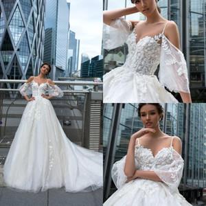 Crystal Design 2020 Brautkleider SpitzeAppliques Illusion Castle Brautkleider Sweep Zug A Line Brautkleider robe de mariee