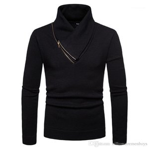Thick Irregular Collar Zipper Panelled Mens Sweaters Casual Males Clothing Panelled Mens Designer Sweaters Fashion Slim