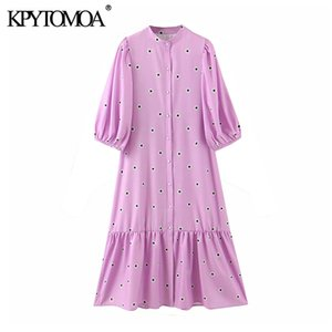 Kpytomoa femmes 2020 Chic mode Polka Dot À Volants Midi Robe Vintage moitié manches Boutons Femme Robes Casual Robes Mujer