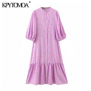 KPYTOMOA Donne 2020 Pulsanti elegante di modo Pois increspato Vestito longuette half manica abiti femminili casual Vestidos Mujer