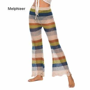 Melphieer Beachwear Vêtements Lady 2020 trompette rayé Fishtail pantalon pantalons de couverture de plage crochet Tricoté fond de couverture de plage