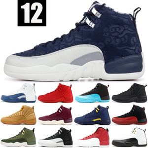 Wntr 12 12s Mens Basketball Shoes New Gym Red Michigan College Navy Taxi XII High  Sneakers Trainer Sport Shoes US 7-13