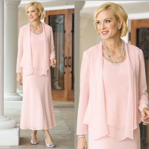 Pink Mother Of The Bride Dresses With Jacket Jewel Neck A Line Three Pieces Wedding Guest Dress Ankle Length Cheap Groom Mother Gowns