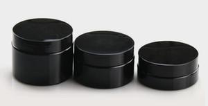 30ML 50ML 50ML 100ML البلاستيك الأسود جرة التجميل فارغة PET حاوية تخزين كريم 100G 80G 50G 30G