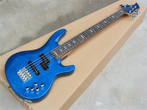 Factory custom 5 Strings Blue Electric Bass Guitar with Cloud Patterns Veneer,Offer Customized as you request