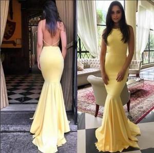 2019 Sarı Mermaid Uzun Backless Seksi Gelinlik Modelleri OnLine Zarif Parti Resmi Elbiseler Jewel Backless Criss Çapraz Sapanlar 2019 P010