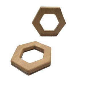 200pcs pura madera de haya natural forma hexagonal Mordedor colgante de madera juguetes para la dentición de grado alimenticio materiales orgánicos Chew Baby Gift Teethers