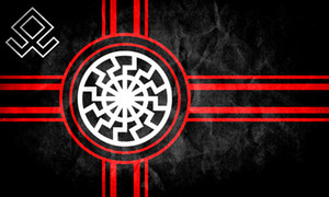 150 cm * 90 cm Negro Sol Bandera Kolovrat Eslavo Símbolo Sol Rueda Svarog Solsticio 3 * 5FT Poliéster Personalizado Bandera colgante decorativo para la decoración