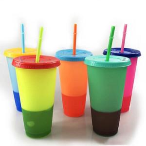 saman ve kapak 5 renk seçenekleri ile Stok 24 oz renk değiştirerek bardak Plastik sippy kupa renklenmesi kupa Renk değişimi Kupası