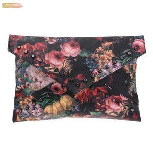 Flower Pattern Clutch Bag Oil Painting Rivets Handbag Women Envelope Bag For Female Ladies Fashion Shoulder Crossbody Bags