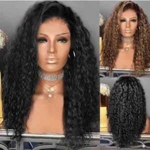 Full lace human hair wigs Long Kinky Curly Hair Synthetic High Temperature Fiber Soft lace Wigs For Black brown Women
